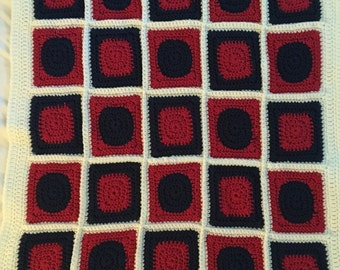 Crochet Granny Square Afghan- Red White and Blue