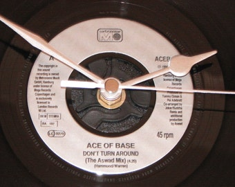 "Ace of Base don't turn around 7"" vinyl record clock"