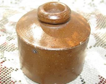 Vintage Brown Stoneware Inkwell