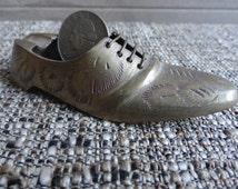 Miniature Brass Shoe Ashtray - Oxford - Wingtip
