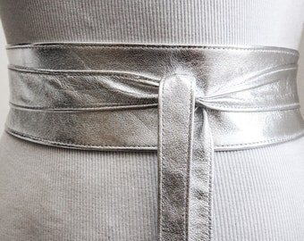 Silver Leather Obi Belt | Silver Belt | Bridesmaid Sash | Waist corset Belt | tie belt | Real Leather wrap Belt | plus size belts