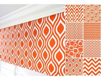 Orange Valance Curtain.Tangelo Window Valance.Red Orange Valance.Kitchen Valance.Window Treatment Valance.Orange Chevron Valance