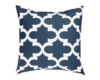 Navy Pillow Covers.Dark Blue Throw Pillows.Blue Decorative Pillows.Navy Accent Pillow.Morrocan Pillows.Quartrefoil Cushions.