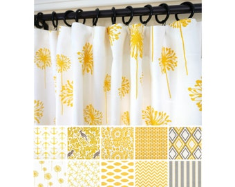 Yellow Window Curtains.Yellow Kelp Curtains. Grey Curtains.Kitchen Curtains.Nautical  Curtains