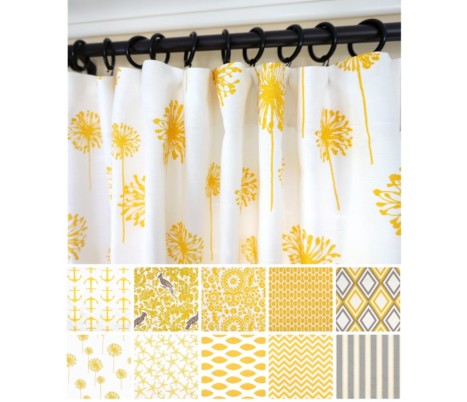 Kitchen Curtains Yellow And Gray: Yellow Window Curtains.Yellow Kelp Curtains. Grey