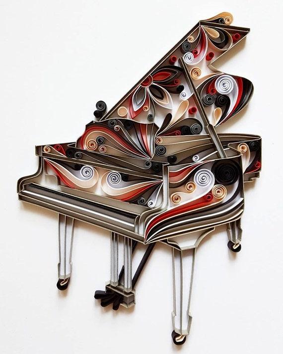 Piano Piano du papier Art, Piano Wall Art, Home Decor, cadeau musicien, Art de la musique, Piano, oeuvre musicale, papier d'Art