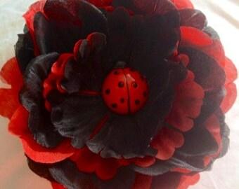 Ladybug jumbo peony clip-flower hair clip-birthday bow- SALE