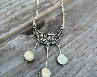Fool's Gold Moon Necklace, Pyrite Necklace