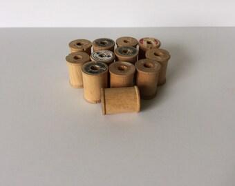 12 Small Vintage Thread Spools