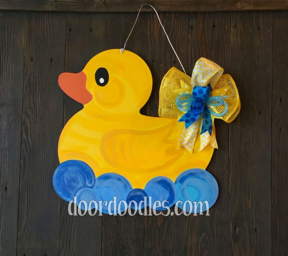 Rubber ducky baby shower door decoration by doordoodlesdecor for Baby shower door decoration