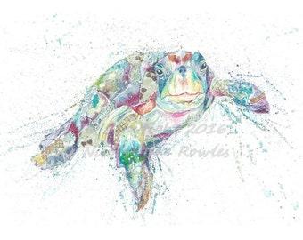 A4 Turtle Wildlife Watercolour / patchwork , Art print by nicola jane rowles
