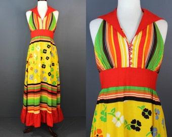 60's Maxi Dress.....60's Floral Maxi Halter Summer Dress