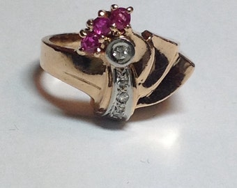 Vintage Art Deco 14k Rose Gold Diamond and Ruby Ring