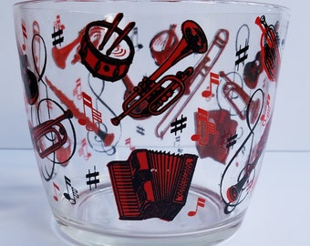 Vintage Glass Ice Bucket with Musical Instruments in Red