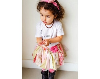 ON SALE Sage green & pink fabric tutu with flower | handmade fabric tutu