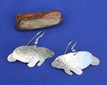 Manatee Sterling Silver Earrings, Sterling Silver Dangles, Sterling Manatees, Manatee Dangles, Manatee Post Earrings, Silver Manatee