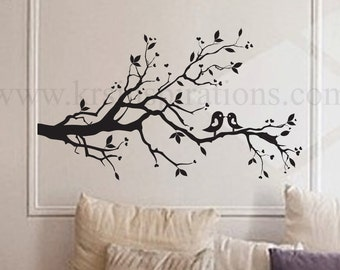 Love Birds on a Leafy Branch Wall Decal
