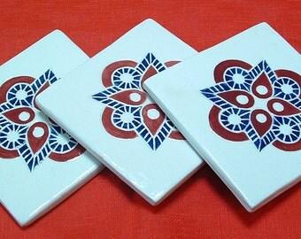 Tile Coaster set of 3, cranberry & dark blue Geometric/tile coasters /gift set