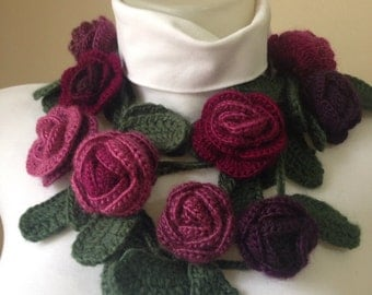 Crocheted Rose Scarf, Christmas Gifts, Crocheted Scarf, Scarves , Scarf,  Gifts