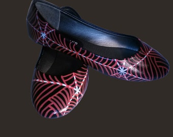Spider Web Flats / Hand Painted Spider Web Flats / Hand Painted Flats / Hand Painted Shoes / Spider Web Shoes / Halloween Flats / Halloween