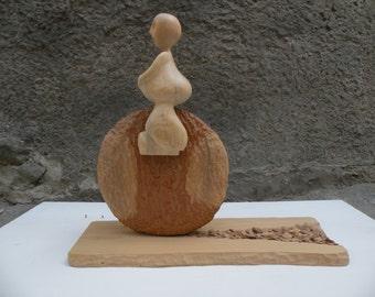 Wood contemporary sculpture