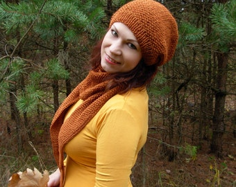 Knitted hat scarf set, chunky winter knitted hat, knit skarf baktus, womens knit hat, wool skarf hat, terracotta knit cowl, slouchy knit hat