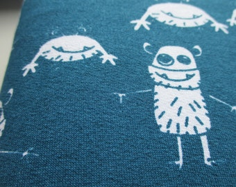 Monsters on teal -  loop type knit / French Terry Sweatshirt - extra wide