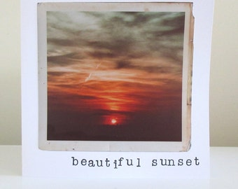 Beautiful Sunset, vintage photography greetings card