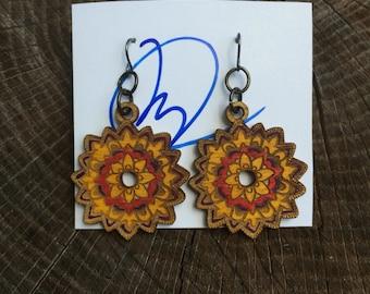 Mandala earrings red, yellow, purple