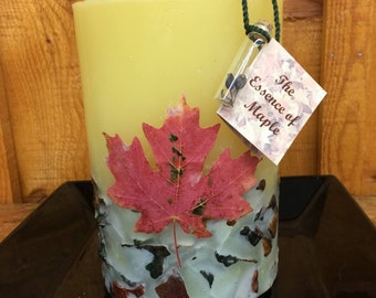Canadian Maple Leaf Pillar Candle