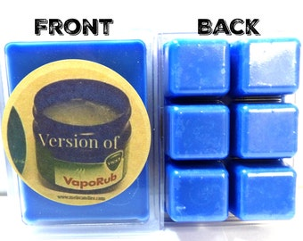 Vicks Vapor Rub Type  3.2oz Pack of Soy Wax Tarts (6 Cubes Per Pack) Mels Melts, Soy wax scent cubes Perfect for all wax burners