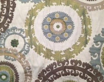 Large Suzani Brown, Blue, and Lime Upholstery Fabric - Home Decor Fabric - Upholstery Fabric By The Yard