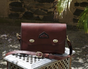 craft bag, shoulder bag in brown leather
