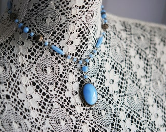 FABULOUS Art Deco Czech Style Vintage Glass Necklace Dazzling Blue Glass Beads and Drop Pendant Old Costume Jewelry