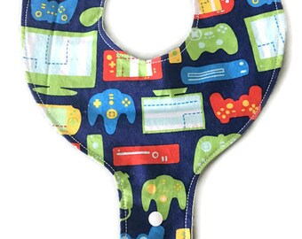 Binky Bib - Video Game Binky Bib - Pacifier Bib - Binky Holder - Pacifier Holder - Teething Bib - Drool Bib - Dummy Bib - Bib for Baby Boy