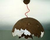 Paper mache lamp, cardboard pulp lamp, pendant lamp, paper pulp light, industrial, eco friendly lamp, natural brown, recycled cardboard