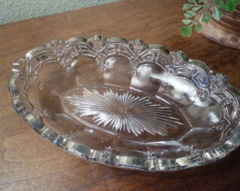CRYSTAL OVAL Dish. SILVERED Edge.   U.S. Glass Co. Stamped.From 1910's - 20's.  Scalloped Garland Design Edge. Elegant  Vintage Crystal.