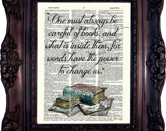 Book Art Print on Dictionary Page Book Art Literary Quotes Gift Ideas for Book Lover Book Quote Print Housewarming Gift C:727