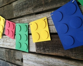 Building Block Party Banner - Garland, Birthday Party, Photo Prop, First Birthday