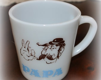 "Vintage Milk Glass ""Papa"" Mug"