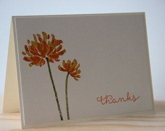 5 Orange Thank You Cards.  Fall Thank You Cards Set.  Mum Flower Cards.  Thank You Note Cards.  Blank Flower Thank You Cards. Autumn