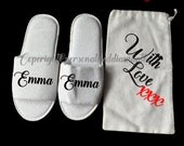 christmas gift bag Personalised slippers personalised gift bag personalized gift slippers bag christmas white bag with love gift