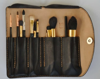 Professional Full Grain Leather Makeup Brush Case