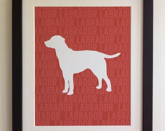 FRAMED Labrador Dog Print - Red, Birthday, New Home, Black or White frame, Fab Picture Gift