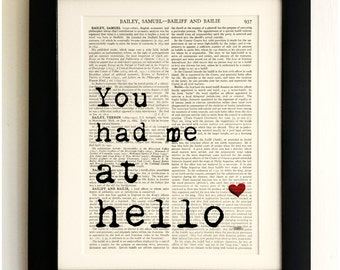 FRAMED ART PRINT on old antique book page - Love Quote, You had me at hello, Vintage Wall Art Print Encyclopaedia Dictionary