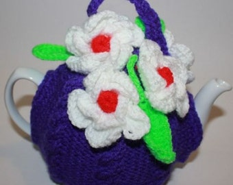 Flower Tea Cosy/Cozy, Hand Knit,  Crochet, Handmade, Make to order