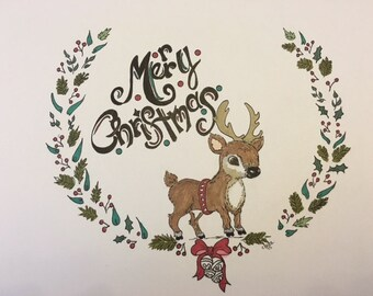 Reindeer Merry Christmas Notecards/Gift Cards