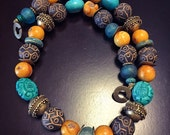 African Statement Necklace, Mali Clay Beads, Tibetan Copal Amber & Carved Stabalized Turquoise Necklace, Brass East Indian Beads Necklace.