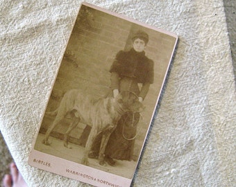 Antique 1800's Victorian Carte de Visite: Lady with very Large Dog--Mastiff?