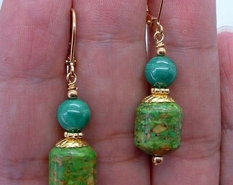 NovaDesign Green Mosaic Turquoise W. Green Malachite Gold Earrings !!